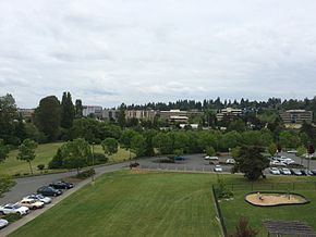 The skyline of central Northgate from North Seattle College