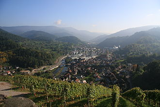 Murg (Northern Black Forest) - The wooded, 700-metre-deep Murg valley with industry and vineyards (View from Schloss Eberstein looking south to Obertsrot)