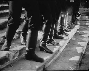 "Battleship Potemkin - The boots of the soldiers shown marching down the ""Odessa Steps"""