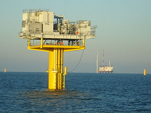 Barrow Offshore Wind Farm - Offshore substation, with jackup ship and wind turbine in background (2006)