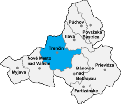 Localisation du district de Trenčín  dans la région de Trenčín (carte interactive)