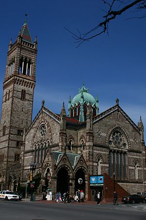 Copley (MBTA station) - Old South Church and the old outbound headhouse in 2005