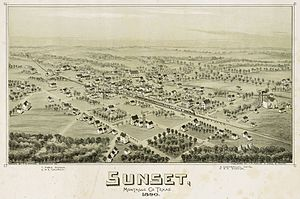 Sunset, Montague County, Texas - Image: Old map Sunset 1890