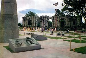 "Cartago, Costa Rica -  The ruins of the Santiago Apóstol church in Cartago's central park, known as ""Plaza Mayor""."