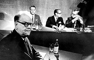 Swedish Social Democratic Party - Prime Minister Tage Erlander at a TV debate in 1967