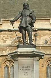 Statue of Cromwell by Hamo Thornycroft outside the Palace of Westminster, London.
