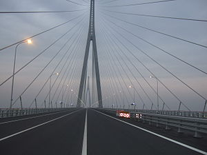 Sutong Yangtze River Bridge - Image: On the Sutong Bridge 2