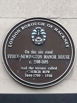 On this site stood stoke newington manor house c.1500 %e2%80%93 1695 and the terrace called church row 1695 1700 %e2%80%93 1936