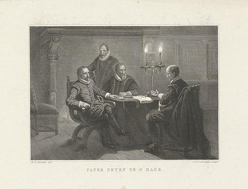 Onderhandelingen over een bestand tussen pater Jan Neyen, prins Maurits en Johan van Oldenbarnevelt te Den Haag, 1607 Pater Neyen te 's Hage (titel op object), RP-P-OB-73.745
