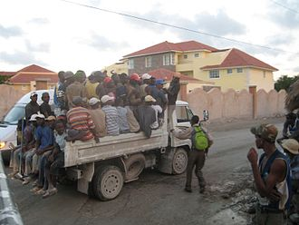 Foreign relations of the Dominican Republic - Haitian workers being transported in Punta Cana, the Dominican Republic.