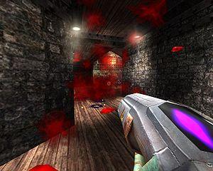 OpenArena - Screenshot showing gibs in OpenArena.