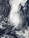 Satellite image of Hurricane Ophelia in 2017, the most recent storm to peak as a Category 3 Atlantic hurricane