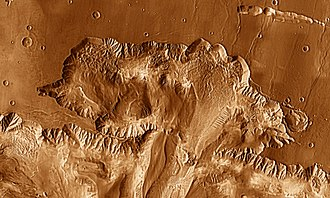 Ophir Chasma - Ophir Chasma in mosaic of THEMIS infrared images, with part of Candor Chasma at bottom
