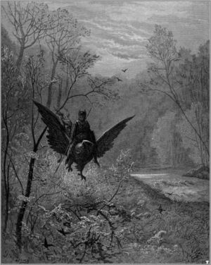 History of fantasy - Illustration to Orlando furioso by Gustave Doré, featuring the hippogriff, a monster never actually found in folklore.