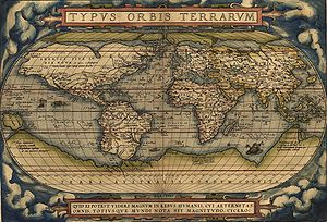 "Commercial Revolution - In 1570 (May 20) Gilles Coppens de Diest at Antwerp published 53 maps created by Abraham Ortelius under the title Theatrum Orbis Terrarum, considered the ""first modern atlas"".  Latin editions, besides Dutch, French and German editions appeared before the end of 1572; the atlas continued to be in demand till about 1612. This is the world map from this atlas."