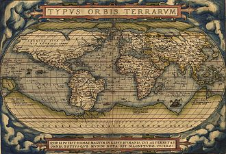 1564 Typus Orbis Terrarum, a map by Abraham Ortelius showed the imagined link between the proposed continent of Antarctica and South America. OrteliusWorldMap1570.jpg