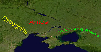 Boz (king) - Image: Ostrogoths, Antes, Huns and Alans in 380