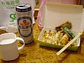 Overseas Dragon guotie box and TTBC Tsingtao Beer aluminum can 20070407.jpg