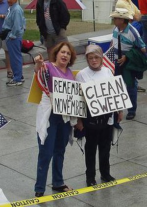 2005 Pennsylvania General Assembly pay raise controversy - Protestors from PACleanSweep in front of the Pennsylvania State Capitol in 2005.