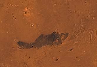 Elysium quadrangle - Image of the Elysium Quadrangle (MC-15). The north includes relatively smooth lowland plains. Elysium Mons and Albor Tholus are in the northwest and Orcus Patera is in the east.
