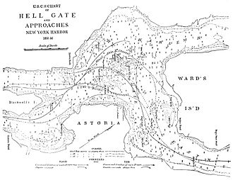 East River - A navigation map for Hell Gate from c.1885, after many of the obstructions had been removed.