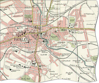 Paisley, Renfrewshire - Map of Paisley in 1923