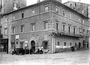 Giovanni Mangone - Palazzo Alicorni (here before its demolition in 1931 and later reconstruction) could be attributed to Mangone because of its stylistic resemblance with the Palazzo di Pirro