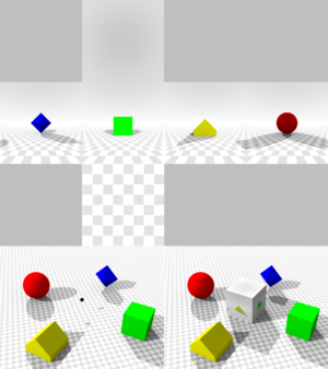 Cube mapping - The lower left image shows a scene with a viewpoint marked with a black dot. The upper image shows the net of the cube mapping as seen from that viewpoint, and the lower right image shows the cube superimposed on the original scene.