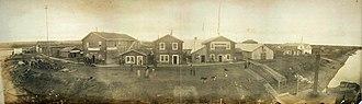 Circle, Alaska - Panoramic view of Circle's main street, September 1899.