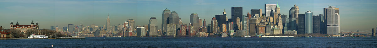 A view of Manhattan and part of Ellis Island, New York City