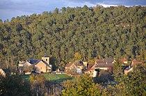 Panorama of Saint-Cirque-Madelon with its traditional Dordogne style church, see alsoo preceeding photo - panoramio.jpg
