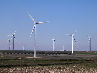Wind power is of increasing importance in many countries Parque eolico La Muela.jpg