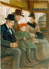 Passengers in the tramway