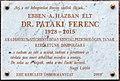 Pataki Ferenc plaque (Budapest-13 Hegedűs Gyula u 20).jpg