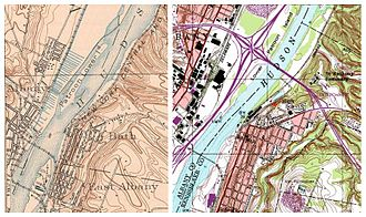 Patroon Island Bridge - Lower Patroon Island on 1927 map (left) and after the bridge was built (right)