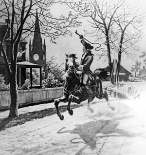 Paul Revere's Ride - 1940s illustration of Paul Revere's ride