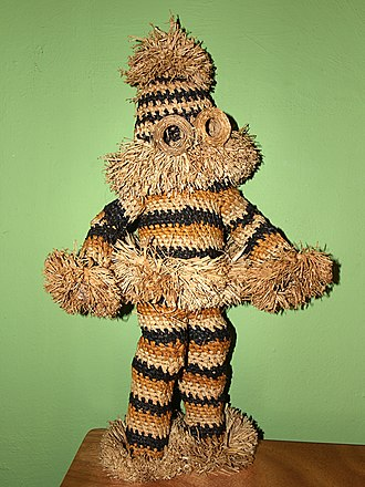 Kikwit - The Munganji dancer is central to Pende dance ceremonies. The full-body suit is woven from raffia thread.