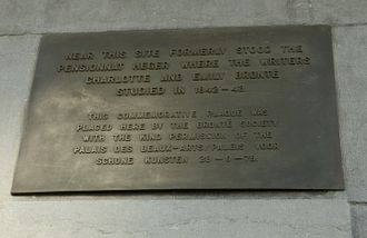 Charlotte Brontë - Plaque in Brussels, on the Centre for Fine Arts, Brussels