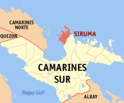 Map of Camarines Sur with Siruma highlighted