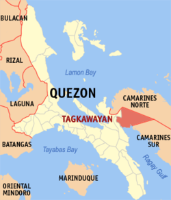 Map of Quezon showing the location of Tagkawayan