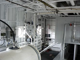 Martin JRM Mars - The interior of Philippine Mars, August 2008. The large tanks hold Fire retardant, which is mixed with the water load