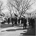 Photograph of President Lyndon B. Johnson and his family walking from the White House as part of the funeral... - NARA - 200453.jpg