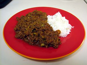 Picadillo - Picadillo served with rice
