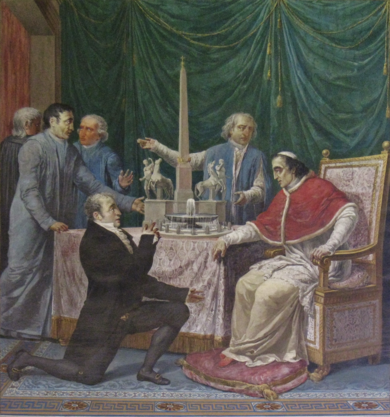 Pius VII reviews plans for the obelisk at Monte Pincio. Pie VII Travaux pour l'obelisque.png