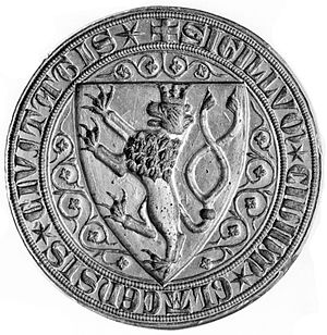 Coat of arms of Kłodzko - Sigillum civivm Glacensis civitatis. Great seal of the City of Kłodzko depicts Bohemian double-tailed lion (13th century)