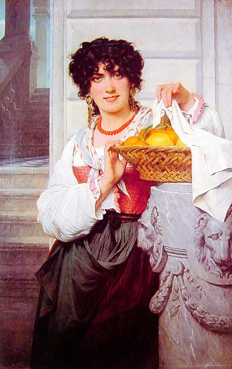 Pierre Auguste Cot -  Girl with Basket of Oranges and Lemons.