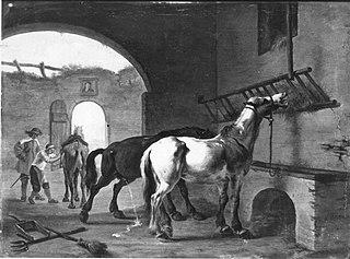 Zwei Pferde im Stall (?)