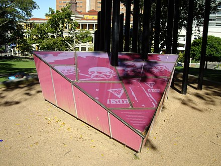 The Sydney Gay and Lesbian Holocaust Memorial, also known as the Pink Triangle, in Darlinghurst, Sydney Pink Triangle Sydney,.jpg