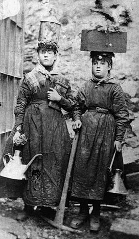 Two pit brow women working at a colliery, late victorian period Pit brow women.jpg