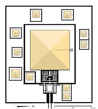 Pyramid of Senusret I - Diagram of the Pyramid of Senusret I at el-Lisht and surrounding temple complex.
